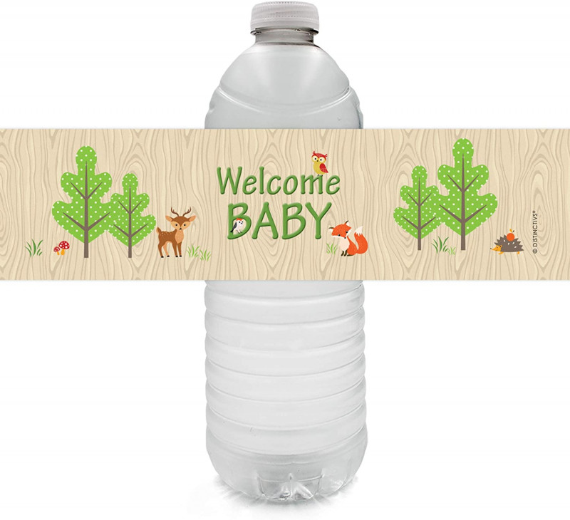 Free Printable Water Bottle Label Template Unique Distinctivs Woodland Animals Baby Shower Water Bottle Labels 24 Stickers