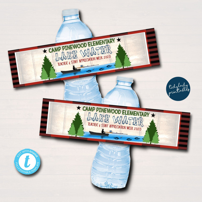 Free Printable Water Bottle Labels Template Unique Camping Theme Teacher Appreciation Printable Water Bottle Labels