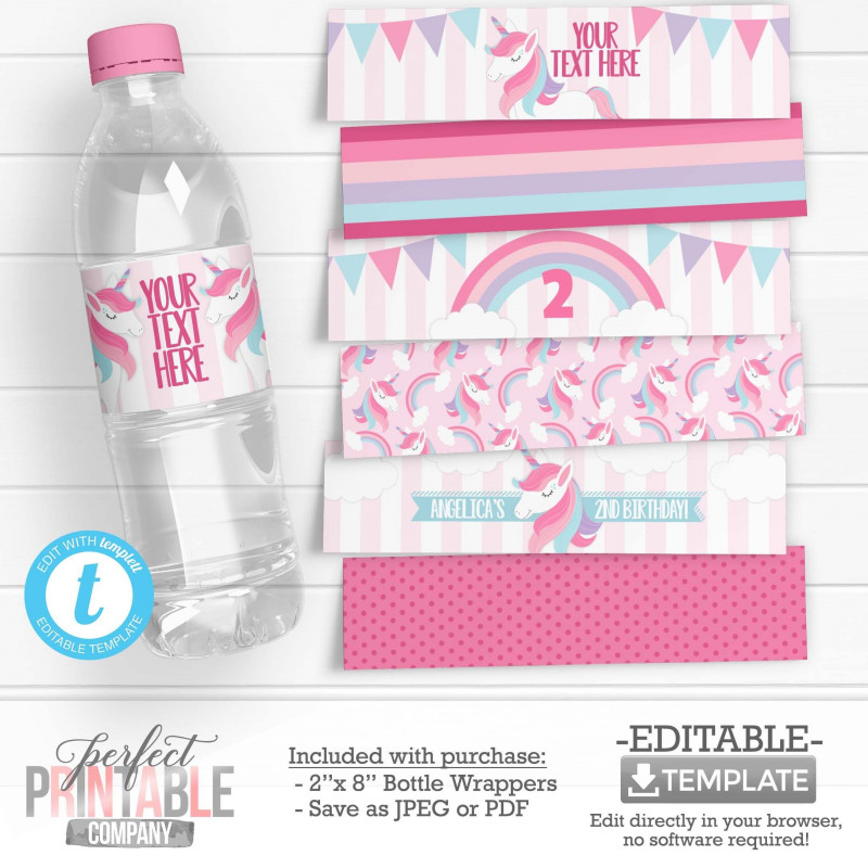 Free Printable Water Bottle Labels Template Unique Unicorn Water Bottle Labels Unicorn Water Bottle Wrappers