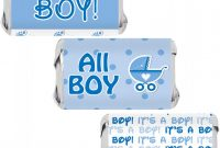 Free Water Bottle Labels for Baby Shower Template Unique Its A Boy Baby Shower Mini Candy Bar Wrappers Blue Footprint theme 45 Stickers