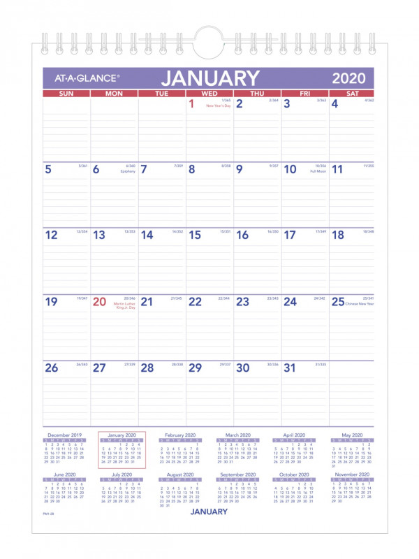 Full Page Blank Calendar Template New At A Glancea Mini Monthly Wall Calendar 8 X 11 Blue Red January To December 2020 Pm128 Item 8367163