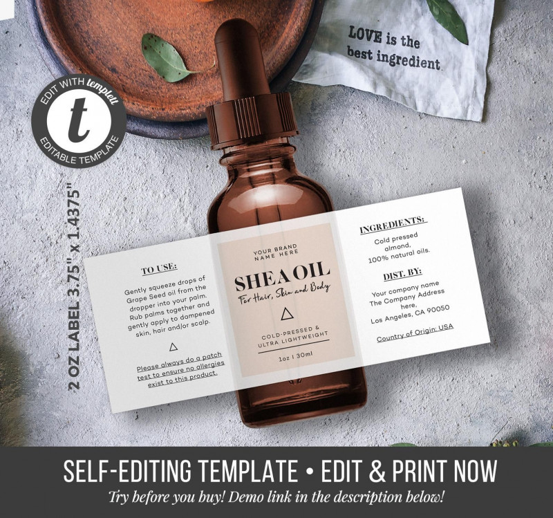 Ingredient Label Template New Custom Product Label Editable Product Label Stylish