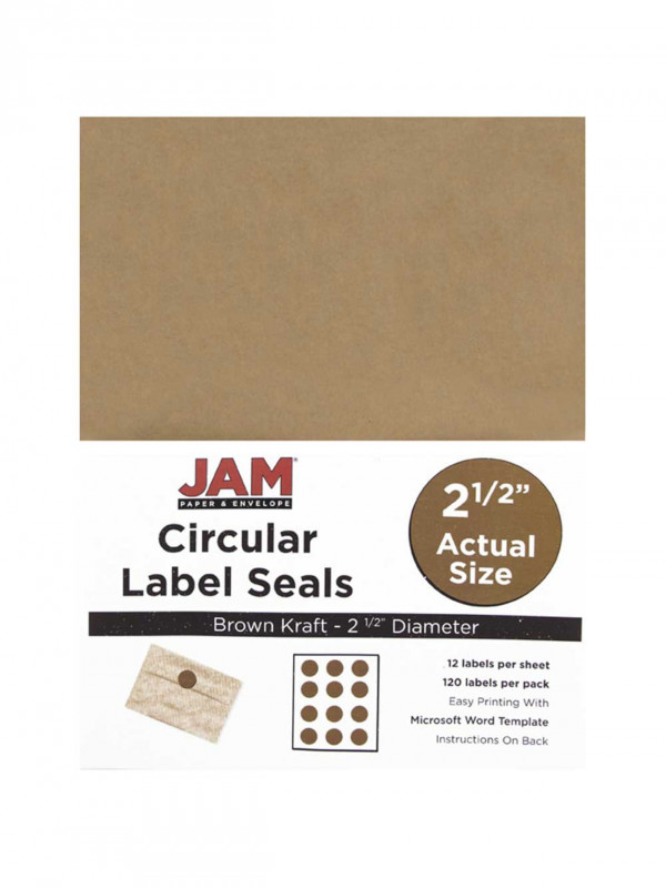 Label Template 21 Per Sheet Word New Jam Papera Circle Label Sticker Seals 2 1 2 Brown Kraft Pack Of 120 Item 773247