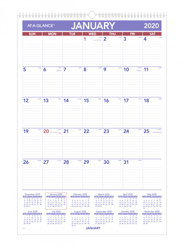 Month At A Glance Blank Calendar Template Awesome At A Glance Monthly Wall Calendar Pm32820 Office Depot