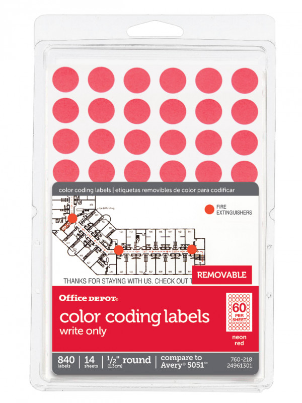 Office Depot Label Template New Office Depota Brand Removable Round Color Coding Labels Od98801 1 2 Diameter Red Glow Pack Of 840 Item 760218
