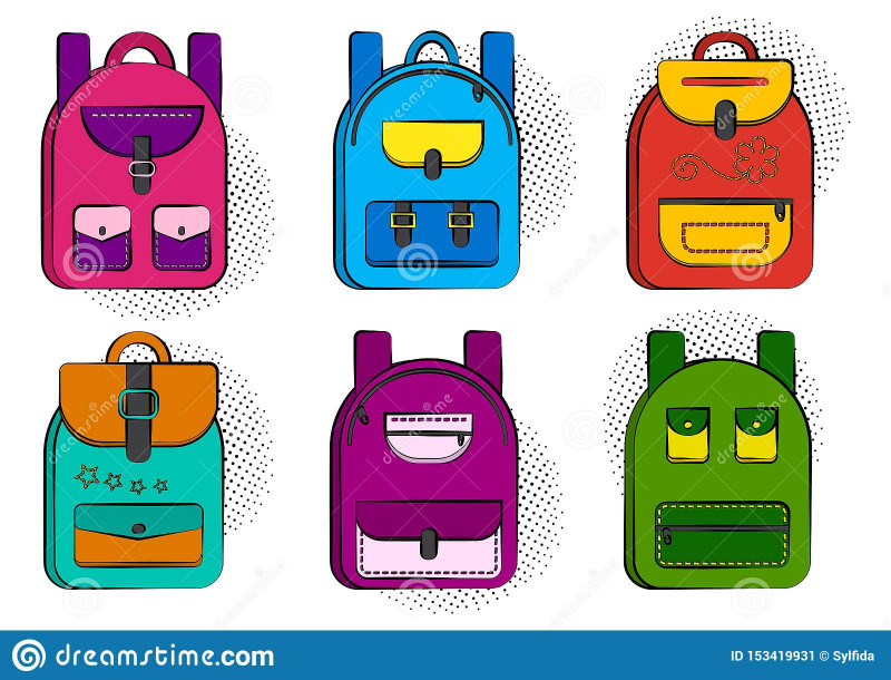 Printable Blank Comic Strip Template For Kids Awesome Set Of Colorful Comic School Backpacks With Halftone Shadow