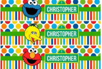 Sesame Street Label Templates Awesome Sesame Street Water Bottle Label Printable Elmo Cookie Monster Big Bird Birthday Party Baby Shower Party Customized Personalized