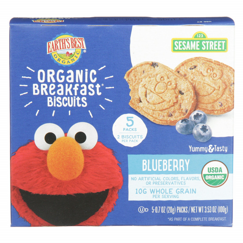 Sesame Street Label Templates Unique Earths Best Organic Sesame Street Toddler Breakfast Biscuits Blueberry 5 Count Box 3 53 Oz
