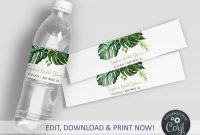 Sweet Labels Template Awesome Editable Greenery Bottle Label Tropical Water Labels