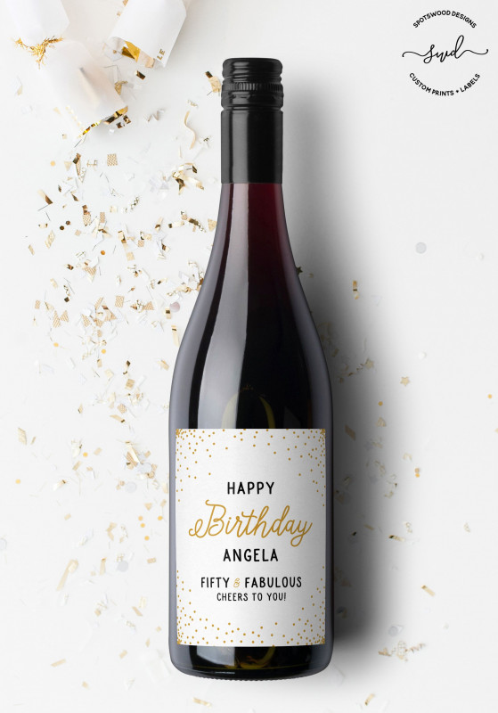 Template For Wine Bottle Labels Awesome Happy Birthday Custom Wine Label Birthday Gift Birthday