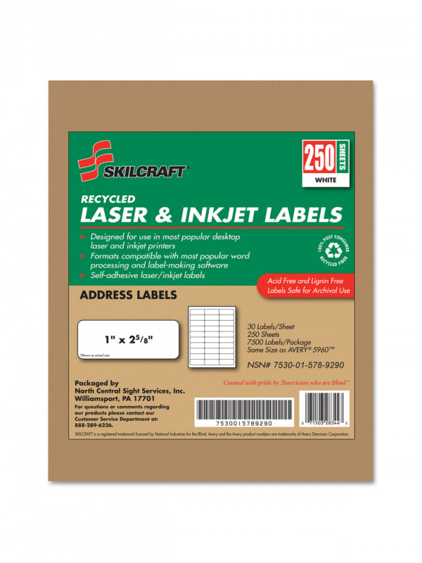Usps Shipping Label Template Word Awesome Skilcrafta 100 Recycled White Inkjet Laser Address Labels 1 X 2 5 8 Box Of 250 Sheets Abilityone 7530 01 578 9290 Item 755577