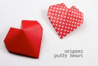 3d Heart Pop Up Card Template Pdf Unique origami Puffy Heart Instructions