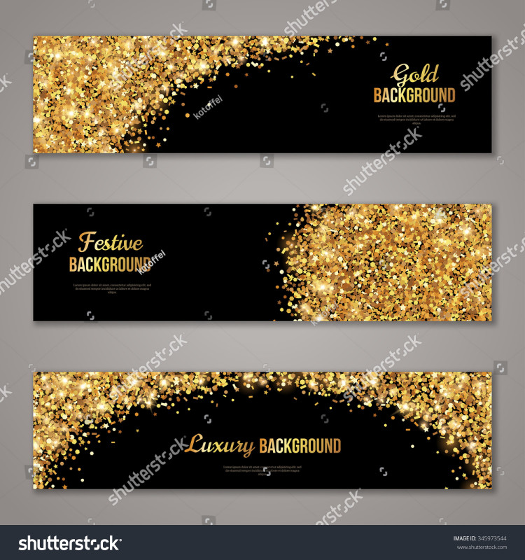 Adobe Illustrator Christmas Card Template Awesome Horizontal Black Gold Banners Set Greeting Stock Vector