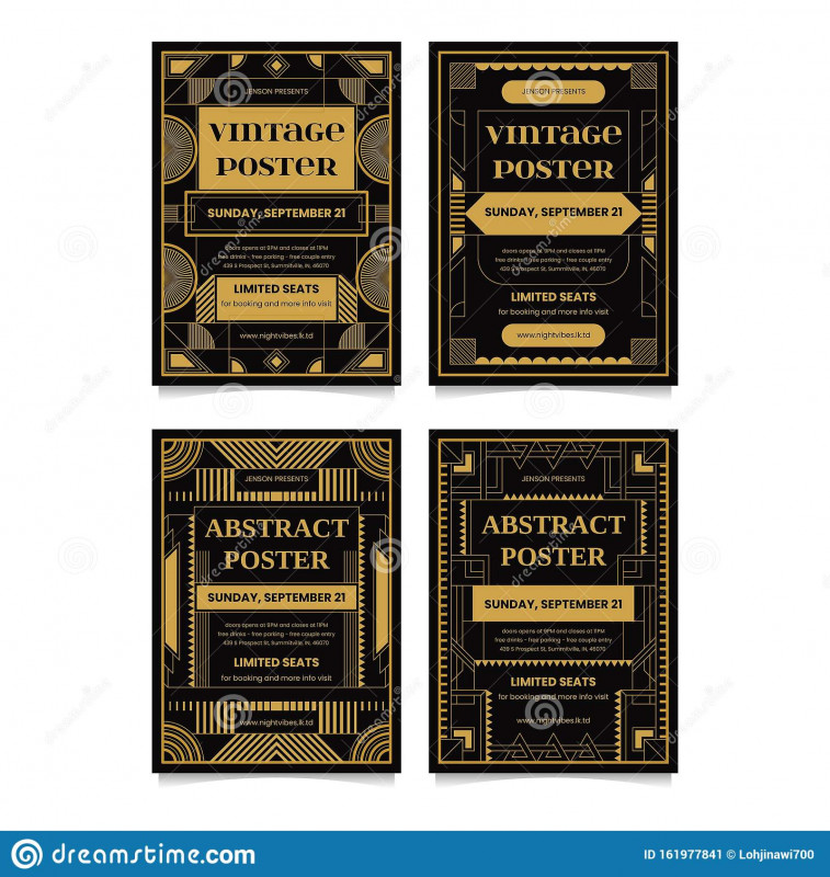 Advertising Card Template New Art Deco Poster Design Template Collections Stock Vector