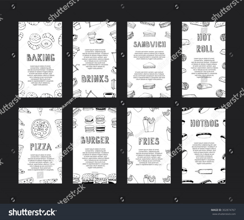 Advertising Rate Card Template Awesome Hand Drawn Fast Food Cards Menu Stock Vector Royalty Free