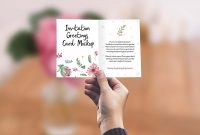Birthday Card Publisher Template Awesome Free Invitation Greeting Card In Hand Mockup Psd