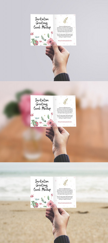 Birthday Card Template Indesign Unique Free Invitation Or Greeting Card In Hand Mockup Psd