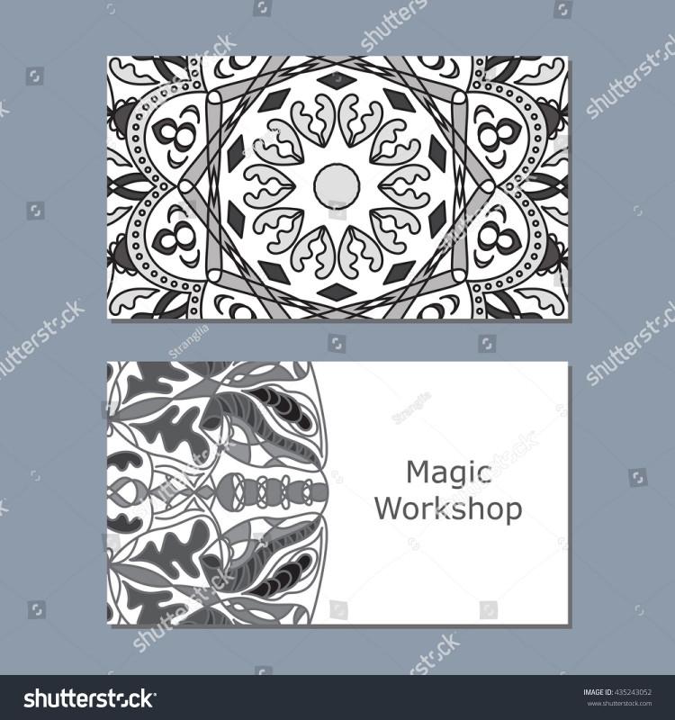 Blank Magic Card Template Awesome Templates Business Card Monochrome Mandala Print Stock