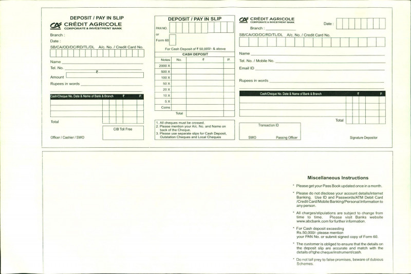 Card Folding Templates Free New 37 Bank Deposit Slip Templates Examples A… Templatelab