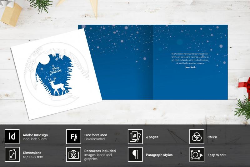 Christmas Photo Card Templates Photoshop New Papercut Christmas Card Creative Indesign Templates
