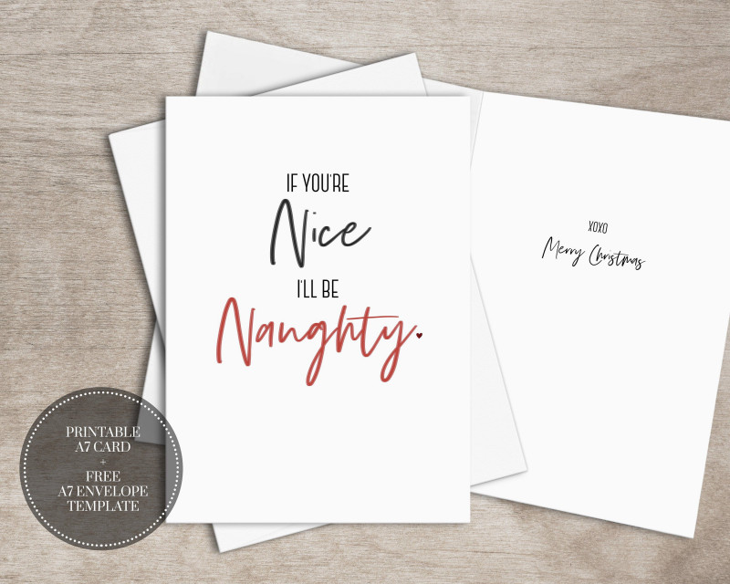 Christmas Photo Cards Templates Free Downloads Awesome Diy Printable Naughty Christmas Card Instant Download Etsy