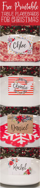 Christmas Photo Cards Templates Free Downloads Unique Christmas Table Place Cards Free Printable Christmas
