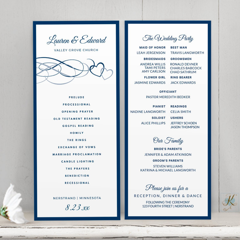 Cookie Exchange Recipe Card Template Unique Wedding Program Template Beloved Navy Dusty Blue or Any
