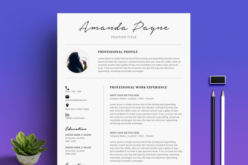 Credit Card Size Template for Word Awesome Minimal Resume Cv Template Bonus Creative Resume