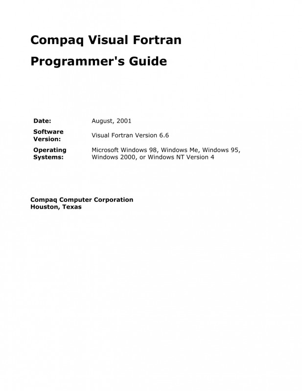 Dope Card Template New Compaq Visual fortran Programmers Guide Manualzz