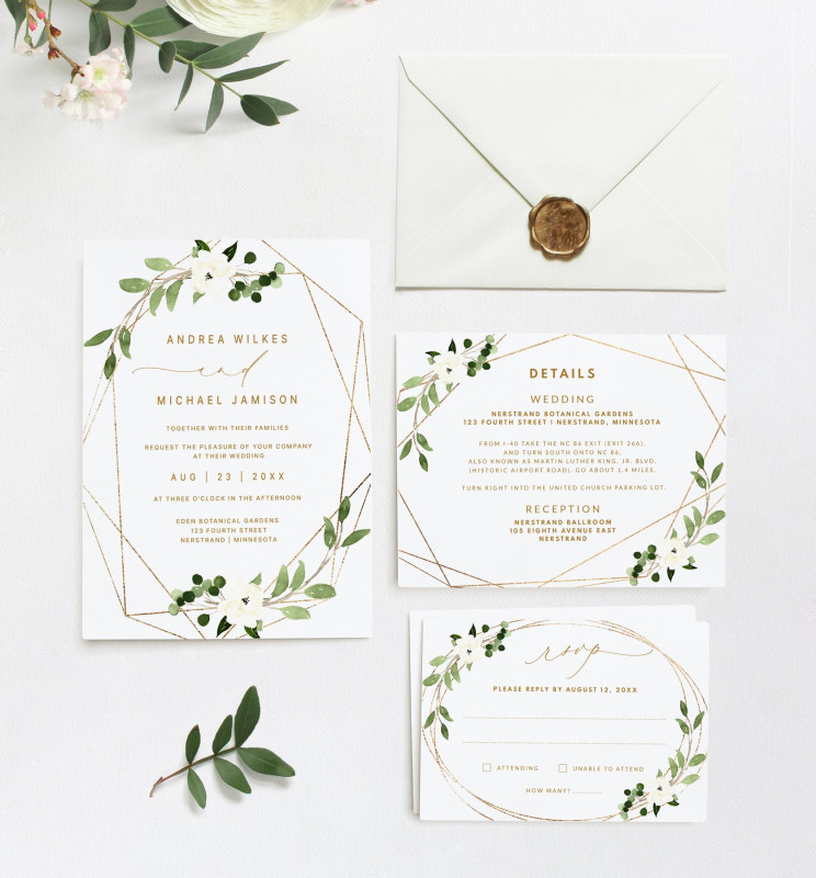 Engagement Invitation Card Template Awesome Wedding Invitation Template Suite Set 5 X 7 Geometric