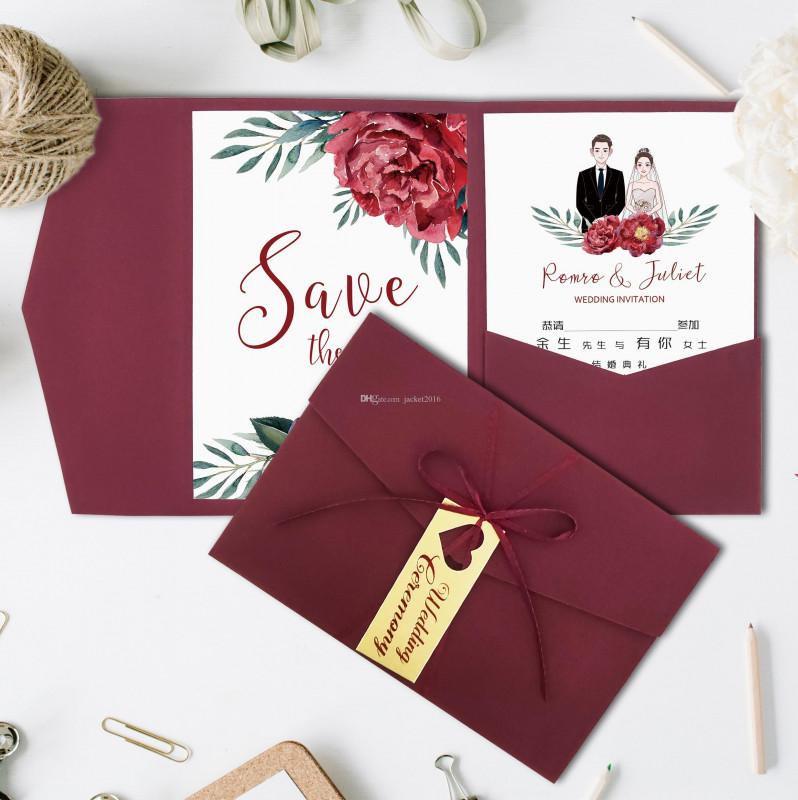 Engagement Invitation Card Template Awesome Wedding Invitations Burgundy Trifold Pocket Bridal Shower Engagement Invitation With Rsvp Card With Ribbon And Tag Couture Wedding Invitations Create