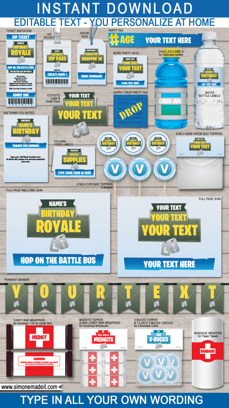 Event Invitation Card Template New fortnite Party Printables Decorations Invitations Blue