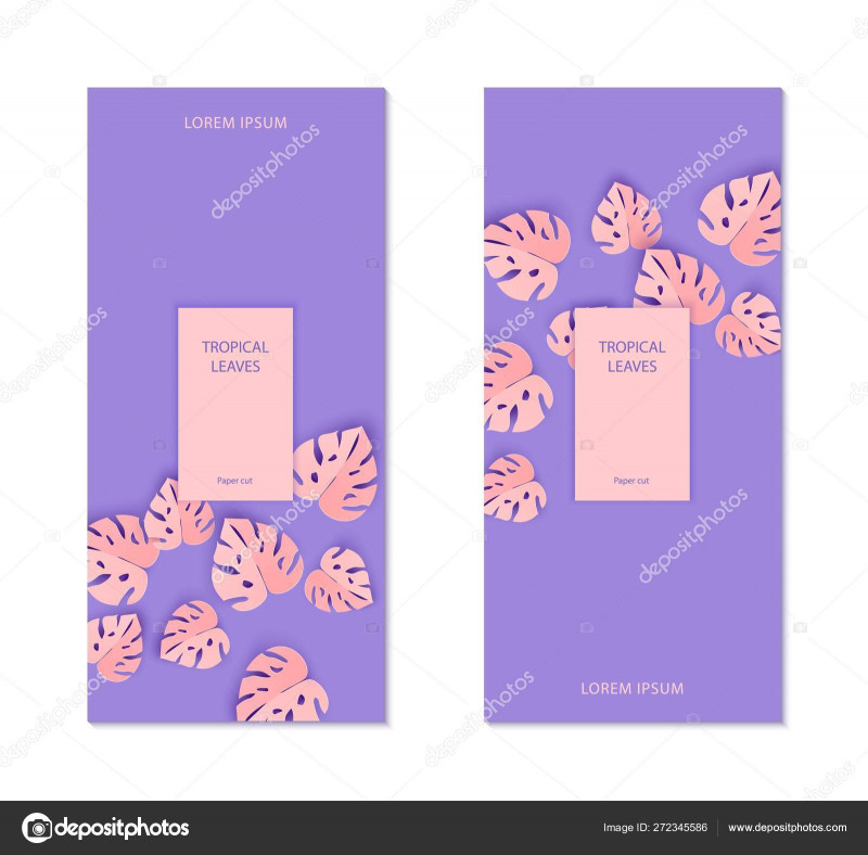 Event Invitation Card Template New Two Flayers Template With Abstract Paper Cut Pink Leaves For
