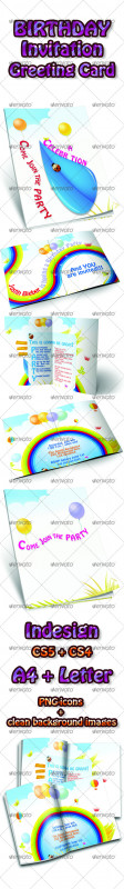 First Birthday Invitation Card Template Awesome Birthday Card Designs Templates From Graphicriver