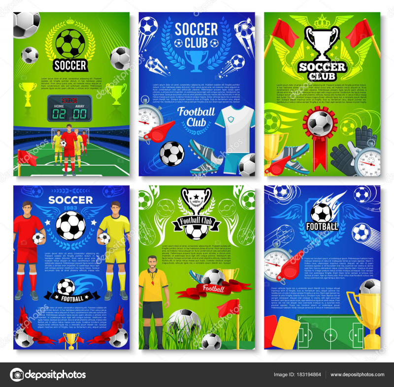 Football Referee Game Card Template New soccer Sport Club Poster with Football Team Player Stock
