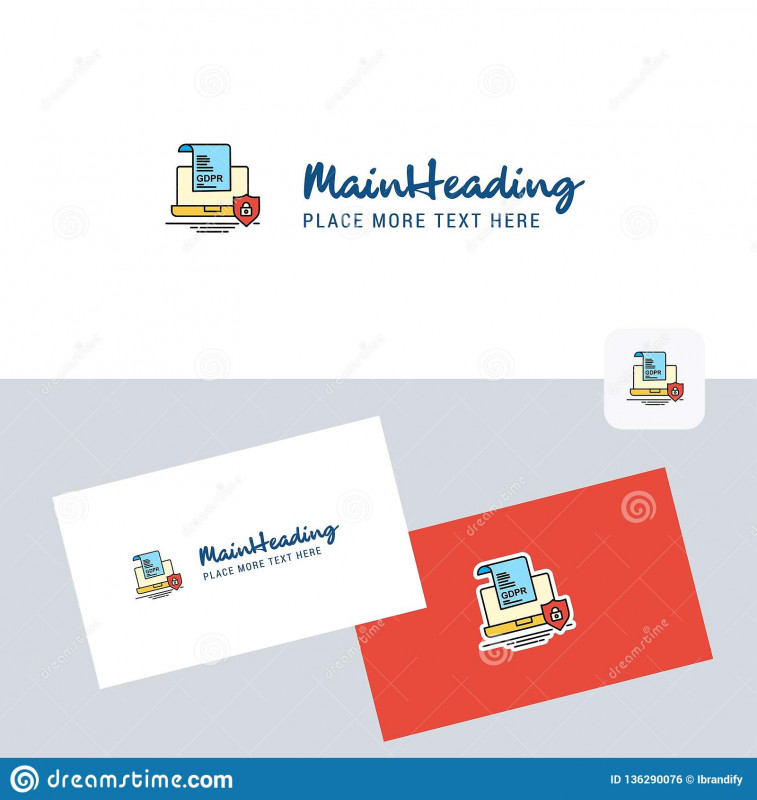 Free Template Business Cards To Print Unique Gdpr Document On Laptop Vector Logotype With Business Card