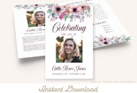 Funeral Invitation Card Template New Printable Funeral Program Template Memorial Service Etsy