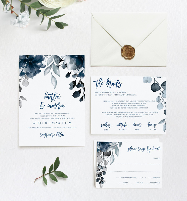Gardening Business Cards Templates Awesome Wedding Invitation Template Suite Set Dusty Blue Download