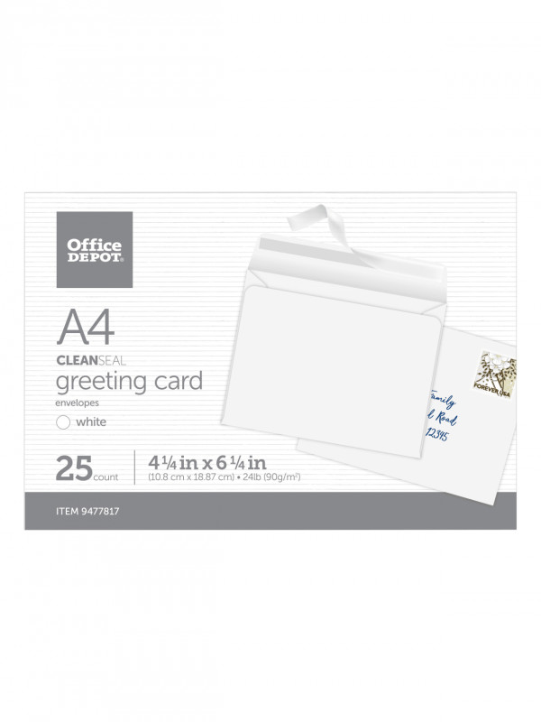 Greeting Card Template Powerpoint Awesome Office Depot Envelopes A4 White 25pk Office Depot