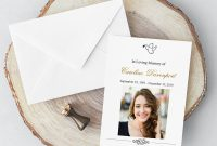 Imprintable Place Cards Template Unique Memorial Card with Photography Classic and Elegant Memorial