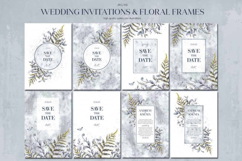 Indian Wedding Cards Design Templates Awesome Floral Wedding Cards Set By Anastasia Koba Thehungryjpeg Com