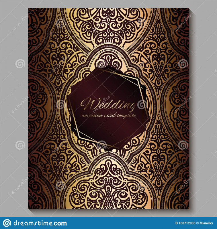 Indian Wedding Cards Design Templates Awesome Wedding Invitation Card With Gold Shiny Eastern And Baroque