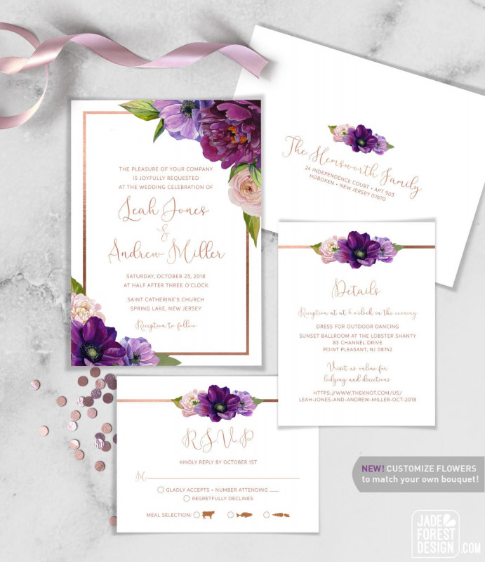 Indian Wedding Cards Design Templates New Purple Wedding Invitation Set Purple Flowers Anemone