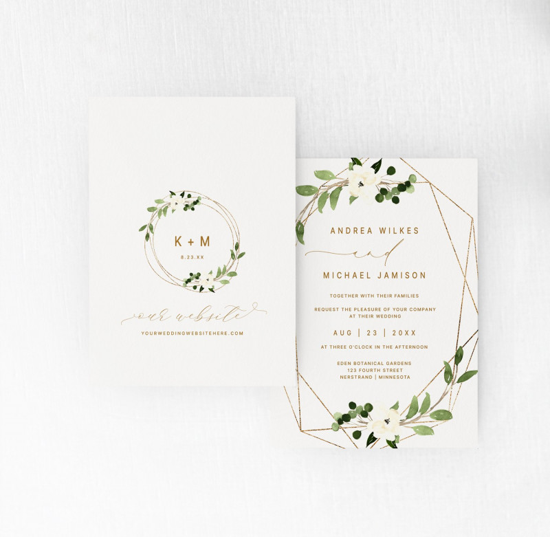 Invitation Cards Templates For Marriage New Wedding Invitation Template 5 X 7 Geometric Greenery