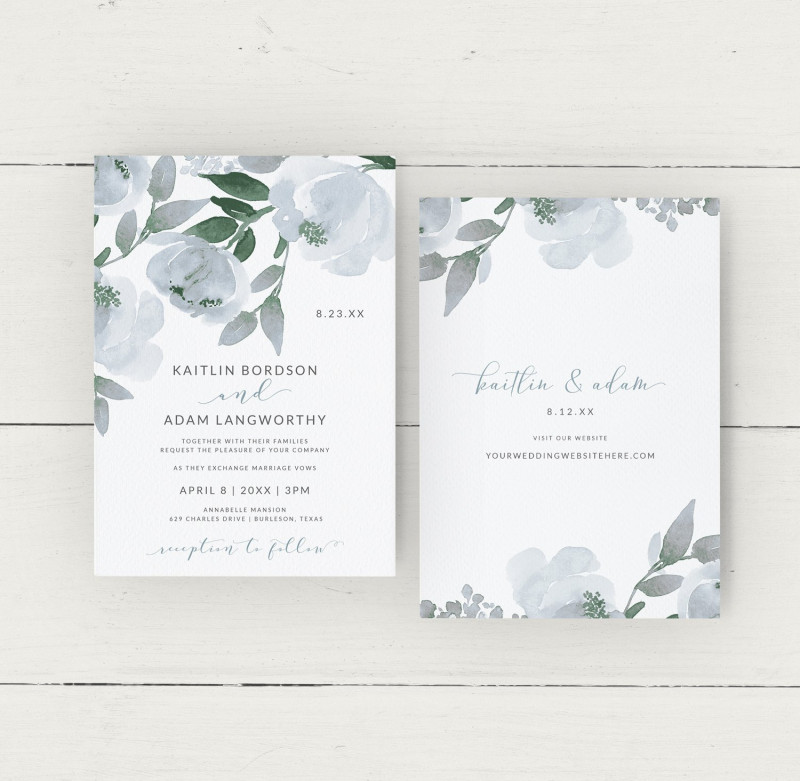 Invitation Cards Templates For Marriage New Wedding Invitation Template Dusty Blue Watercolor Bouquet