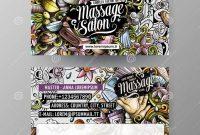Massage therapy Business Card Templates Unique Cartoon Doodles Massage Salon 2 Identity Cards Template