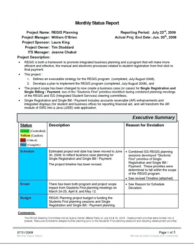 Middle School Report Card Template New The Outstanding Project Management Status Report Template