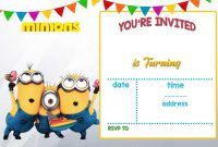 Minion Card Template Awesome Cartoon Invitation Ppt Template Minion Birthday