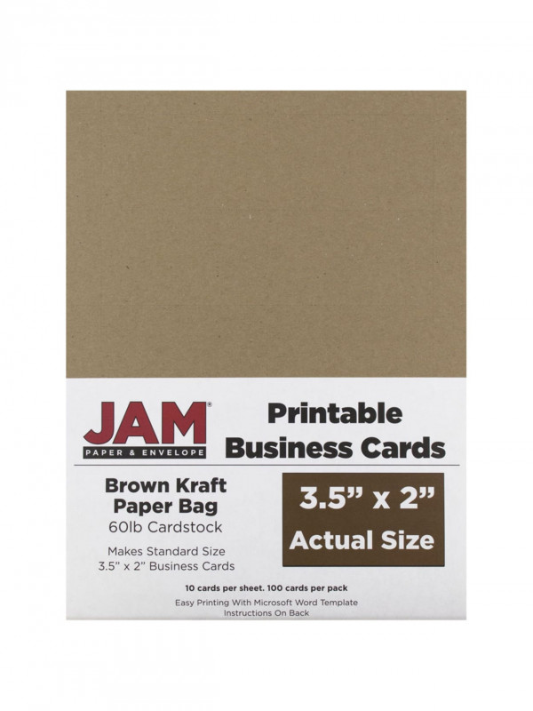 Ms Word Business Card Template New Jam Paper Printable Business Cards 3 12 X 2 Brown Kraft 10