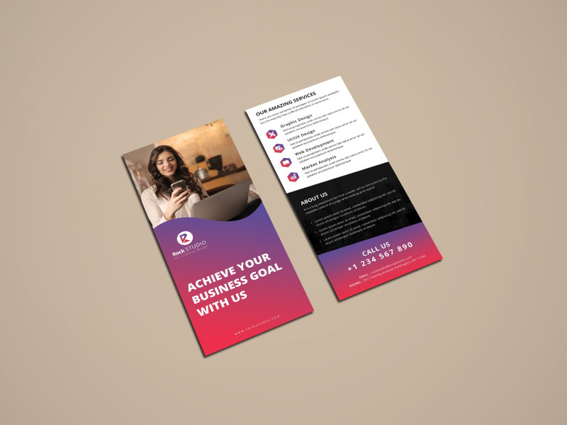 Name Card Template Photoshop Awesome Corporate Rack Card By Rajib Das On Dribbble